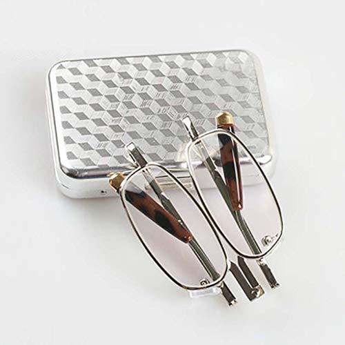 Faltbare lesebrille,Leichtes gewicht Portable leser Mit quadratischen brillenetui Glaslinse Einfache Unisex-A +2.5