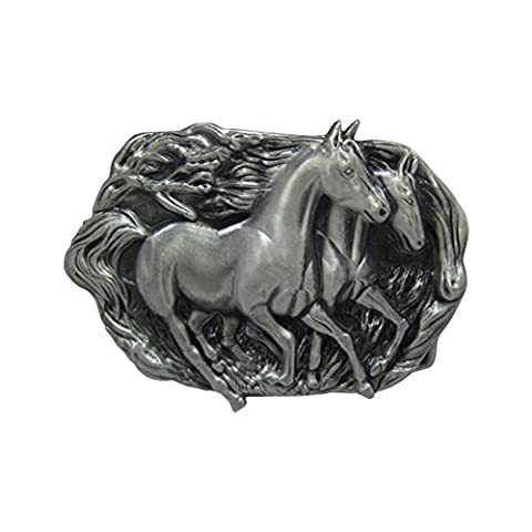 GoGou Oval Alloy Steed Buckle Unisex Engraved Wild Horse Western Belt Buckles (Style1)