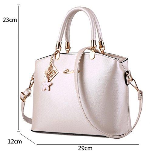 Wewod Damen Einfarbige Handtasche Lässig Abendtaschen Clutch PU Leder Umhängetasche Mit Hängende Ornamente (Azul marino) Weiß