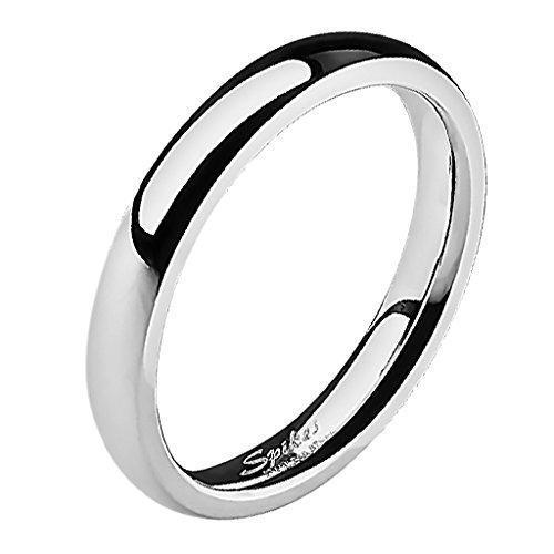 Mianova Band Ring Edelstahl Bandring Ehering Herrenring Damenring Partnerring Verlobungsring Damen Herren Silber Größe 53 (16.9) Breit 3mm (Silber Band Damen Ringe)