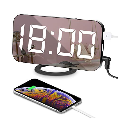 LED Reloj Despertador Espejo Digital Electrónico 6.5'Horlogue Modo de atenuación Espejo de Superficie 3 Ajuste de Brillo Puerto USB Doble Carga