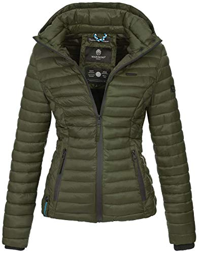 Marikoo Damen Jacke Steppjacke Übergangsjacke mit Kapuze gesteppt B600 [B600-Samt-Olive-Gr.L]