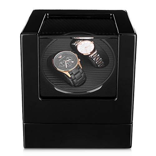 Femor Uhrenbeweger Watch Winder Automatische Uhrenbeweger für 2 Uhren Uhrenbeweger Laufleise Schwarze