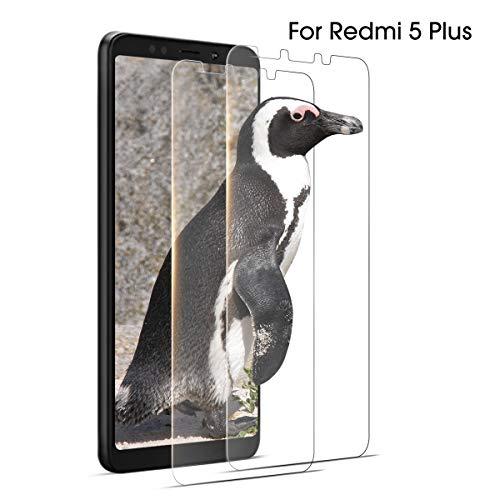 """2 Pcs Cristal Templado para Xiaomi Redmi 5 Plus Protector de Pantalla, Vidrio Transparente 3D Cobertura de Pantalla Frontal 9H Dureza Protectora de Vidrio Templado para 5,99"""" RedMi 5 Plus Sin Burbujas"""