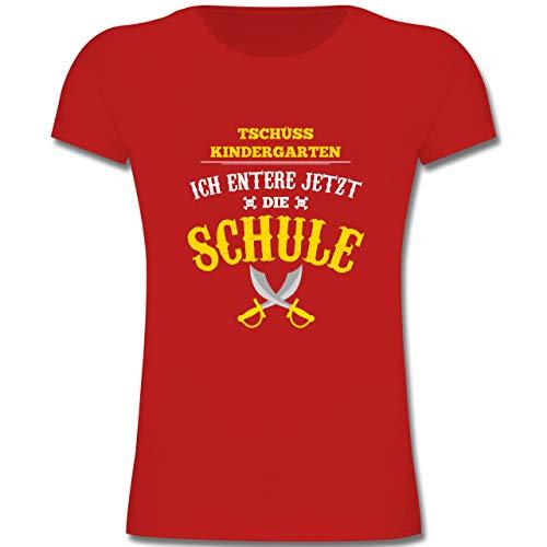 (Einschulung und Schulanfang - Tschüss Kindergarten Pirat - 128 (7-8 Jahre) - Rot - F131K - Mädchen Kinder T-Shirt)