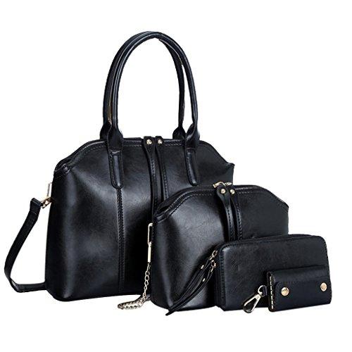 Longra Messenger Bag donne sacchetto di modo borsa a tracolla in pelle (Nero)