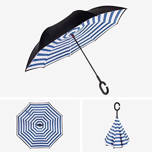 Invertierte Regenschirm Doppelschicht Reverse Folding Regenschirm Red Wave Point Anti-uv Windproof Travel Regenschirm Manuelle Griff Schatten E8
