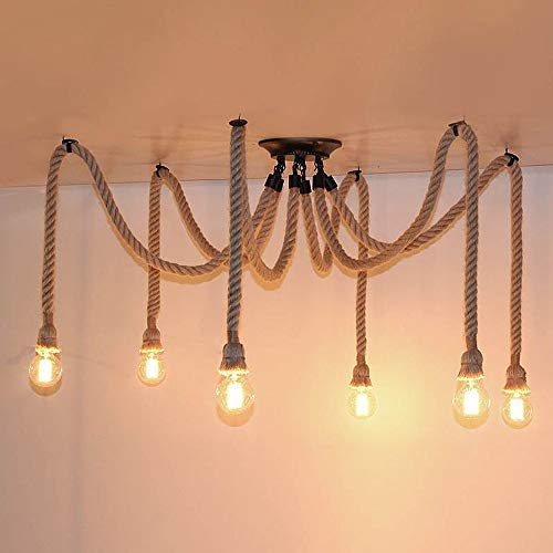 Pendelleuchte Wohnzimmer Hanfseil Industrielles Haengeleuchte Vintage Retro Seil lampe Design Deckenleuchte Kronleuchter 6 flammig mit E27 Lampenfassung Pendellampe Esstisch Bar Cafe Esszimmer Lampe