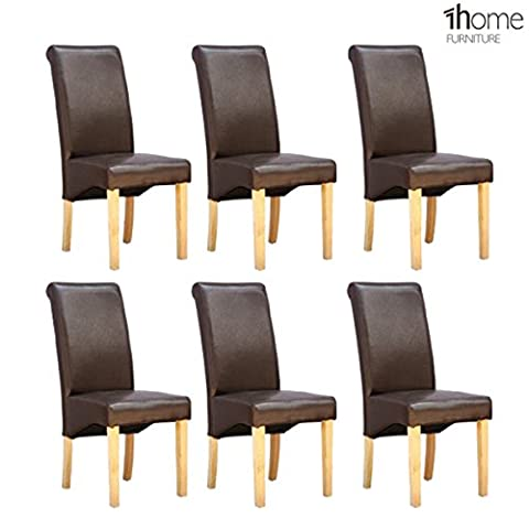 6 x 1home Leather Brown Dining Chair w Oak Finish Wood Legs Roll Top High Back