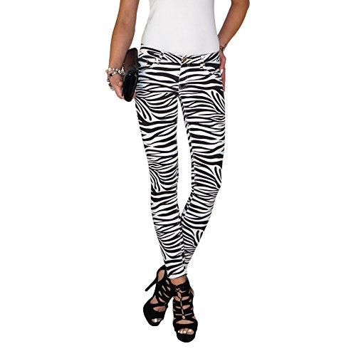 Dresscode-Berlin DB Damen Stretch Röhrenjeans mit Zebra Streifen in schwarz weiß (S / 36, Schwarz) Stretch-zebra