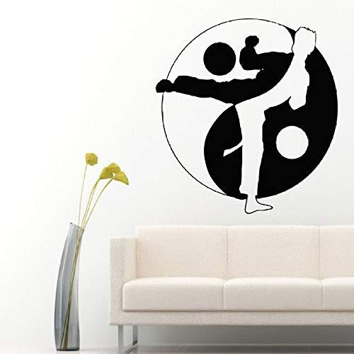 Wandtattoos Yin Yang Zeichen Box Boxen Boy Fighter Gym Sport Menschen Home Vinyl Aufkleber Aufkleber Boy Room Tai C schwarz 42X42cm ()