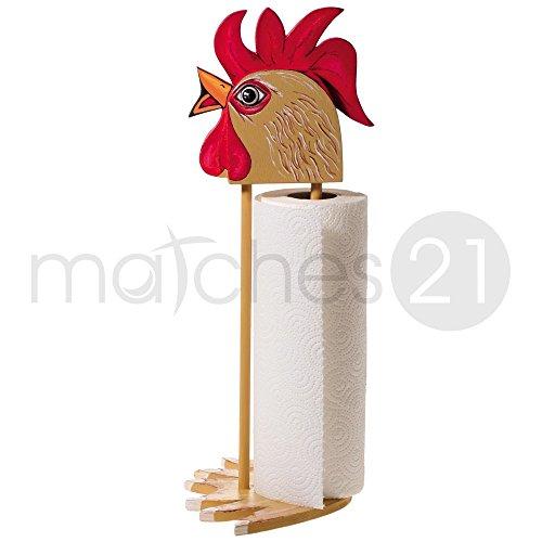 Preisvergleich Produktbild matches21 Küchenrollenhalter Gockel 40 cm Holz Bausatz f. Kinder Werkset Bastelset ab 11 Jahren