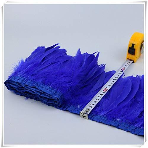 Cushy 2yards qualità Obere Frangie der Federn Natur für das Kostüm Tinto Royal Blau Gänseblümchen Trim für das Außenmaterial mit Rasenband: Blau Royal Trim