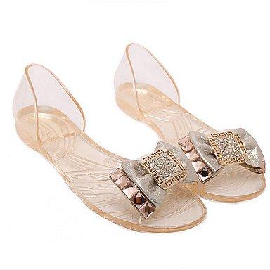 zhENfu Donna pantofole & flip-flops Comfort PU molla informale comfort Nero piatto bianco White