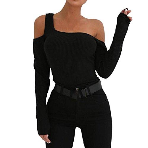 Longra maglione a maniche lunghe con scollo rotondo senza spalline spalla asimmetrica maglia a manica lunga maglione elastico aderente cime abiti senza schienale