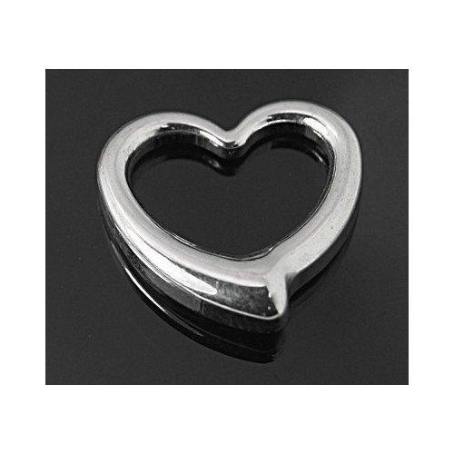 Paket 2 x Silber 304 Edelstahl 16mm Charms Anhänger (Herz) - (ZX20175) - Charming Beads (Herz Paket)