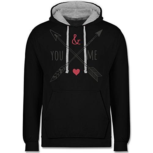 Valentinstag - You & Me Pfeile - Kontrast Hoodie Schwarz/Grau Meliert