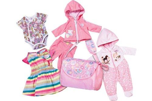 Pack Puppenkleidung (Baby Born Tolles Kleidung Pack von Zapf Creation, 4Outfits Plus Wickeltasche)