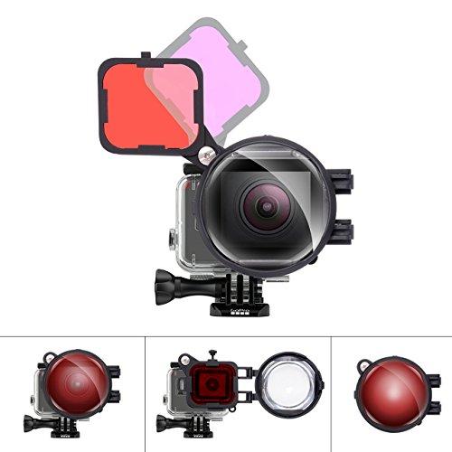 Fantaseal Pro 3in1 Dive Lens Filter Set For GoPro Underwater Diving Snorkeling Lens Filter Red + MagentaFilter + 16X Close Up Macro Lens W/Anti-Loose Safety Lock For Gopro Hero 5 Diving Lens Filter