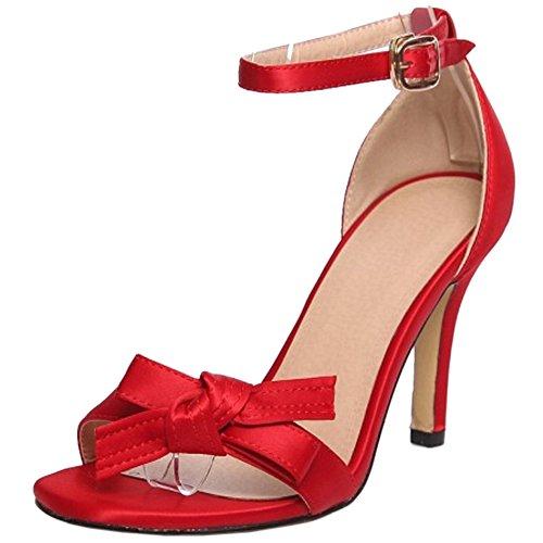 Rosso Sera Tacco D'estate Fibbia Alla Cinturino Donna Papillon Caviglia Alto Taoffen Sandali Elegante Cw1x0xq7a