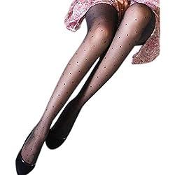 Tandou - Medias de lencería para mujer, diseño de lunares, color negro