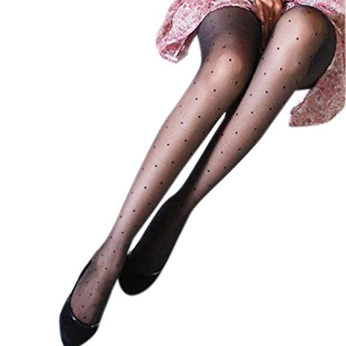 llwei258 Women Sexy See Through Perspective Pantyhose Covering Yarn Small Wave Point Dots Footed Tights Stockings Slim Lingerie Solid Black Color