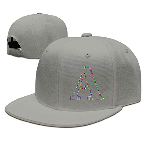 Preisvergleich Produktbild Stars Letter A Solid Flat Bill Hip Hop Snapback Baseball Cap Unisex Sunbonnet Hat.