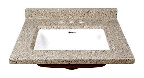 ARSTAR 48,3cm WX17D Latte Zuchtperlen Marmor Vanity Top, braun (Vanity Waschbecken Top Zwei)