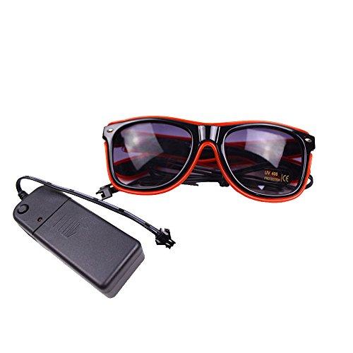 Preisvergleich Produktbild Dearbuy EL Wire Drahtbrille Leuchten Brille Party Club LED Fluter Leucht Sonnenbrille Eyeglasses Partybrille mit Batterie Box (rot)