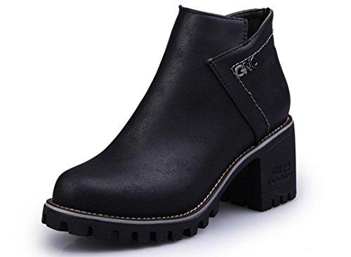 Scarpe XDGG Donne The New artificiale PU Boots testa rotonda Martin Stivali Tempo libero singoli black