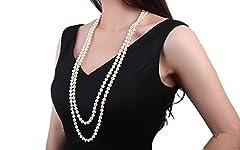 Idea Regalo - Collana di perle d'acqua dolce da 8–9mm bianca JYX, classica, a doppio filo, annodata a mano, con lunga catena da 81,3cm
