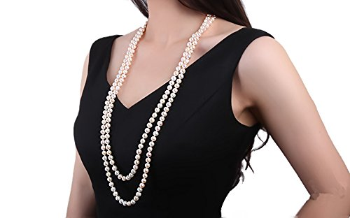 Collana di perle d'acqua dolce da 8–9mm bianca jyx, classica, a doppio filo, annodata a mano, con lunga catena da 81,3cm