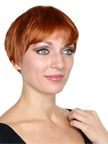 Prettyland Braun-Orange gesträhnt Kurz-Haar Perücke Unisex Damen & Herren Stufen-Schnitt Glatt Trendy Pixie Cut Frisur C612 (Herren Haare Kurze Perücke)