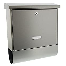 BURG-WÄCHTER Edelstahl-Briefkasten mit aufklappbarem Regendach und Zeitungsbox, A4 Einwurf-Format, EU Norm EN 13724, Edelstahl, Bavaria B 1000