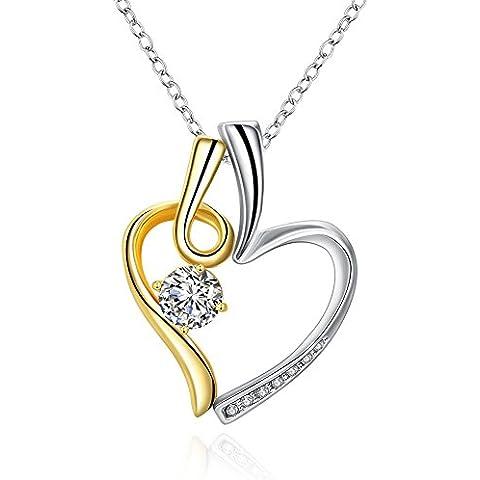 WIBERN Placcato oro doppio cuore Zirconia per sempre collana del pendente di amore di modo, grandi doni per le donne, le ragazze - Cuore Zirconia Collana