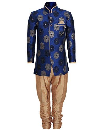 AJ Dezines Boys Indo Western Sherwani Suit for Kids (7001_BLUE_9)