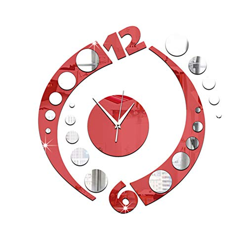 FOOSKOO Wall Clocks Horloge Murale Miroir Acrylique Horloge Murale Art Chiffre Chiffres avec Colle Auto-adhésive Miroir Autocollants Miroir Bricolage décoration Murale horloges (Couleur : Red)