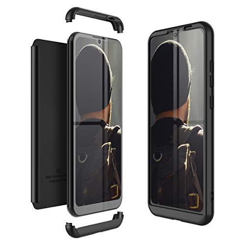 Winhoo Kompatibel mit Huawei Honor Play 8A Hülle Hardcase 3 in 1 Handyhülle 360 Grad Schutz Ultra Dünn Slim Hard Full Body Case Cover Backcover Schutzhülle Bumper - Schwarz