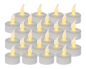 Hillfield LED Teelicht Teelichter 24 Stück flackernd Weiss inklusive Batterien (24)