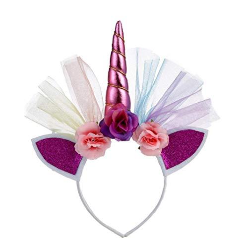 Unicorn Horn Stirnband-Ohr-Foto Props Mädchen-Geburtstags-Outfit Cheeks Glitzer-Horn Stirnband Blumen Kopfbedeckung Zubehör Für Partei-Dekoration Cosplay