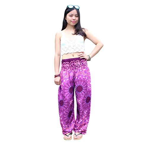 TUDUZ Frauen Thai Harem Hosen Boho Festival Hippie Kittel Hohe Taille Yoga Hosen (Pink, S-L)