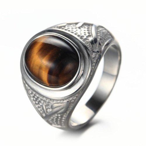 LOPEZ KENT Titan Stahl Männer Retro Tiger Eye Ringe Silber Größe 59(18.8)