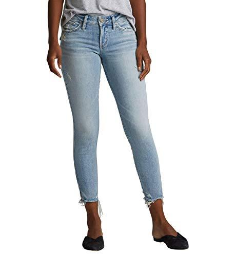 Silver Jeans Co. Damen Suki Curvy Fit Mid Rise Skinny Crop Jeans, Stretch Light Wash, 29W x 25L (Miss Me Bootcut Jeans)