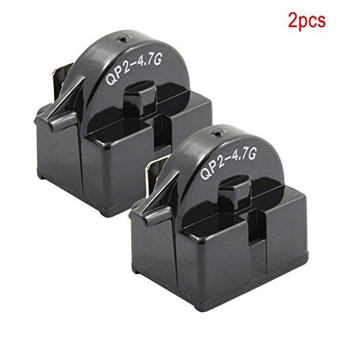 Soldmore7 2 Stück Startrelais Kühlschrank PTC für Ohm 1 Pin Terminal Kühler Kompressor, 3,3 x 0,8 x 3,3 cm, schwarz -