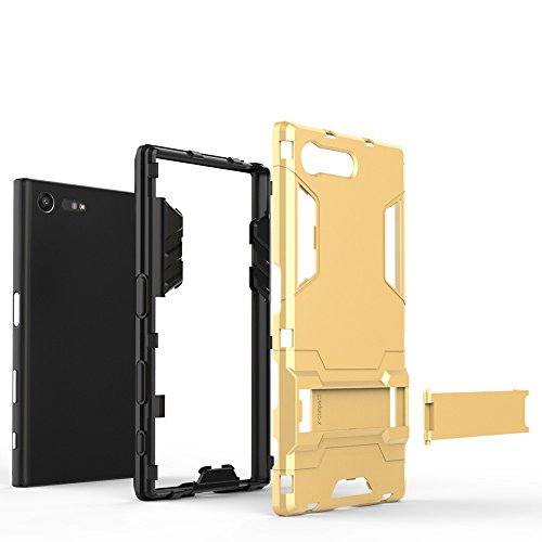 SONY Xperia X Kompakt Hülle Cover, 2 In 1 Neue Armor Tough Style Hybrid Dual Layer Rüstung Defender PC Hard Case Rückseite mit Ständer Shockproof Für SONY Xperia X Compact ( Color : Gold , Size : Xper Gray