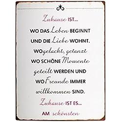 Ib Laursen - Metallschild, Schild - Text: Zuhause ist wo... - 35 x 26,5 cm