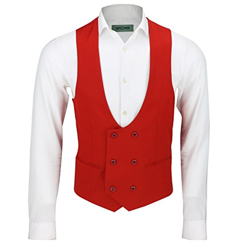 Mens Double Breasted Low Horseshoe U Cut Formal Tuxedo Suit Waistcoat Fitted Smart Casual Vest