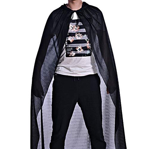 SuperSU Hexenmantel Einzelschicht Hoher Umhang Erwachsenen Rollkragen Bronzing Mantel Robe Cosplay Kostüm Halloween Karneval Party Ghost Kleidung Cape Unisex Langer Umhang mit Kapuze (Schwarz, - Für Erwachsene Ghost Robe Kostüm