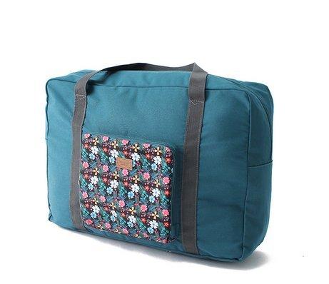 NOVAGO® Bolsa de viaje - Plegable y ligero - 55 litros - colección de flores (Verde)