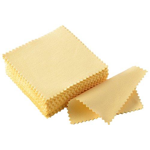 Schmuck Reinigungstuch Poliertuch für Sterling Silber Gold Platin, 50 Packung (Gelb) Sterling Besteck-sets